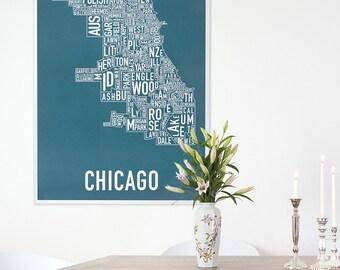 Original Chicago Typographic Neighborhood Map Poster