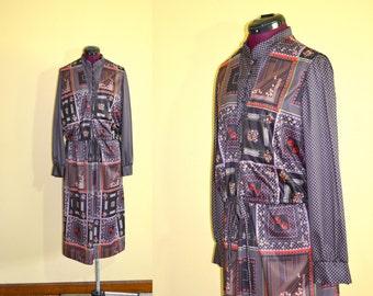 1970s Vintage Plus Size Boho Dress with Matching Vest size 38 (XL) bust 38