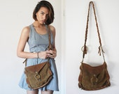 80's Handmade tobacco brown leather fringe cross body snap purse