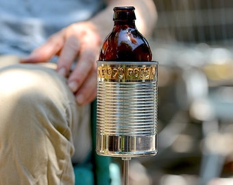 POP'S HOPS- Hobo Tin Can Beer Holder, Garden Drink Holder, Father's Day Gift, Dad Gift