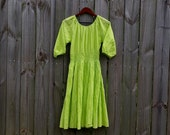 S M Small Medium Petite Vintage 80s BFA Classics Made in India 100% Cotton Chartreuse Boho Hippie Indie Hipster Festival Sundress Dress