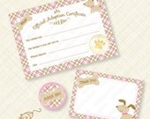 Pink Puppy Adoption Certificate Printable Kit for Birthday Party Paw pawty favor favors plaid woof bone instant download pdf digital