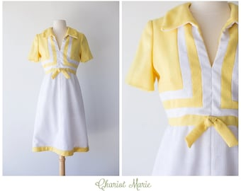 White and Yellow 1960's Linen Dress - White and Yellow Colorblock Mod Dress - Vintage Designer Dress - Shannon Rodgers for Jerry Silverman