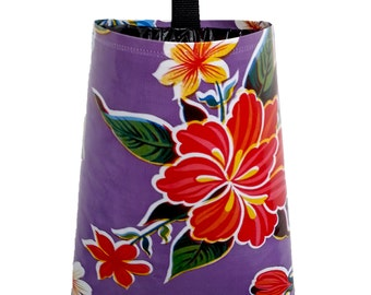 Car Trash Bag  - Vinyl Oil Cloth Tropical Flower - Purple