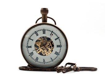 Retro Pocket Watch, Mechanical Wind-Up Pocket Watch on Chain, Magnified Visible Movement, Steampunk Jewelry Watch Parts, Brass Watch Case