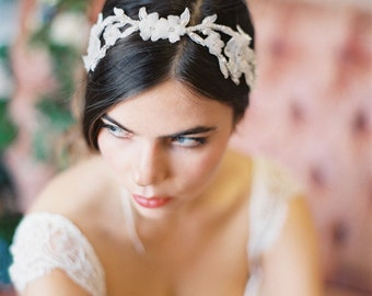 Delicate Lace and Silk Flower Headband, Lace Flower Vine Headband with Flowers and Crystals #214HB