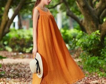 linen dress, Tunic Dress, Maxi Sundress, linen sleeveless dress, Contrast Color Long Dress, Beach Dress, Maxi Caftan, pinafore dress