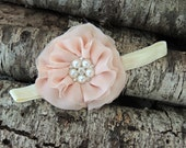 Blush Flower Clip, Blush flower headband, Shabby Flower Clip