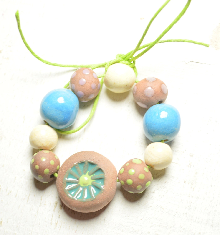 Ceramic Bead Beads: 10 Handmade Ceramic Beads Polka Dot Beads Chunky Beads Art