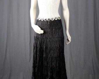 Black skirt layered skirt Broomstick skirt Maxi skirt gypsy bohemian black women size S Small