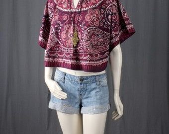 Batik top blouse poncho top red blouse ethnic 70s bohemian hippie gypsy size S small