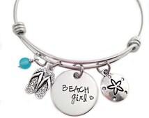 Beach Girl Bangle Bracelet - Hand Stamped Jewelry - Expandable Wire Bangle - Beach Jewelry - Flip Flop - Sea Glass - Summer Beach Jewelry