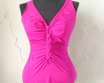 solid pink swimsuit/ 60s one-piece// small