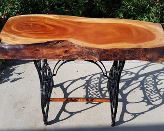live edge cuban mahogany slab hallway table console table or desk on a vintage cast