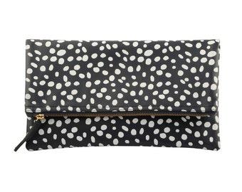 Dalmatian print leather bag fold over clutch, Dalmatian Bag, Leather Dalmatian print clutch, Dalmatian clutch, Monogram foldover