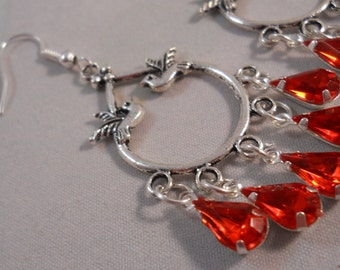 Silver Teardrop Chandelier Earrings With Silver Doves and Red Teardrop Crystal Dangles