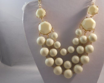 3 Strand Bib Necklace with White Beads on a Gold Tone Chain
