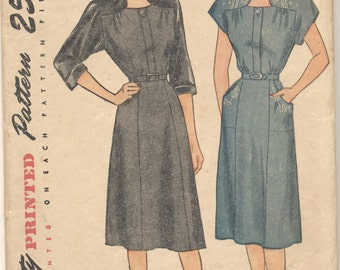 Vintage 1946 Simplicity Pattern 1797 Misses One-Piece Dress Size 18 Bust 36