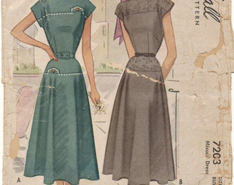 Vintage 1948 McCall Pattern 7203 Misses Dress Size 16 Bust 34