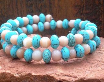 Healing Heart Chakra Cats Eye and Turquoise Gemstone Bracelet