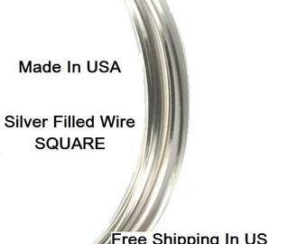 24 Ga SILVER Filled SQUARE Wire (Half Hard )  1 OZ Coil