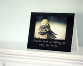 Notecard Folded Photo Card Quirky Antique China Doll Adventures of Claudia Was a Bundler Winter Humor