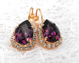 Amethyst Earrings Rose Gold Earrings Purple Earrings Amethyst Teardrop Purple Wedding Purple Bridesmaids Swarovski Crystal Dangle Earrings