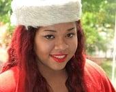 White Winter Hat, Women's Vintage Hat, Faux Fur Hat