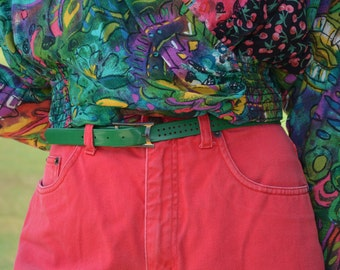 Green Belt, Women's Belt, Small Belt, Thin Vintage Belt, Size XS