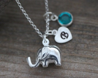 Elephant, Elephant Necklace, Sterling silver elephant, Two Custom charms, Good luck Necklace, Silver elephant necklace