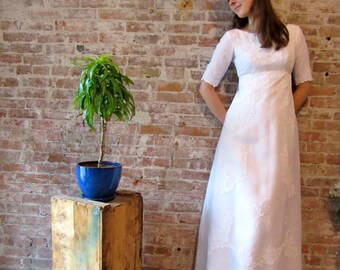 1960s White Wedding Dress - Empire Waist - Small Size - Detachable Train - Sleeves - Gown - Applique Flowers