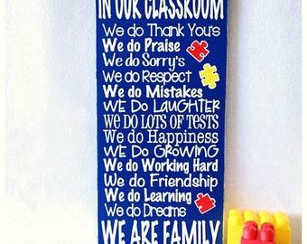 Puzzle piece Classroom Rules Sign