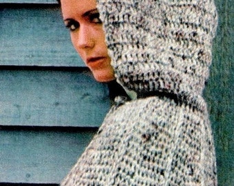 Vintage 70's Crochet Hooded CAPE - PDF Pattern - Instant Download