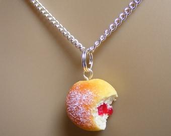 Food Jewelry, Jelly Donut Necklace, Jam Doughnut Necklace, Donut Pendant, Miniature Food, Mini Food, Do Nut Necklace, Kawaii Necklace, Sugar