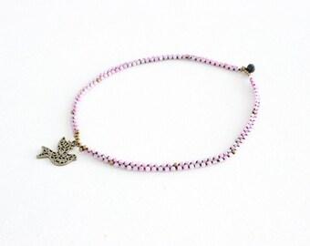 SALE Flourish Necklace with Dove - Pink Quartz (002BR)
