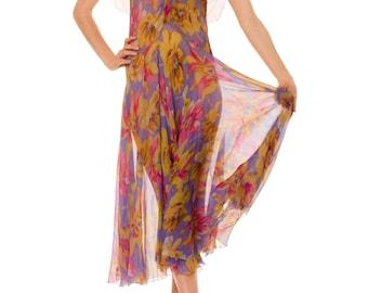 1930s Vintage Silk Chiffon Floral Dress  Size: S/M