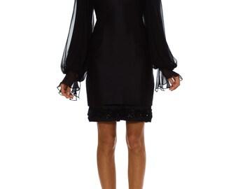 1980s Vintage Arnold Scaasi Black dress  Size: XS