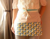 Teal and Lime modern tulip Joel Dewberry half apron - gardeners apron, craft apron, bistro apron