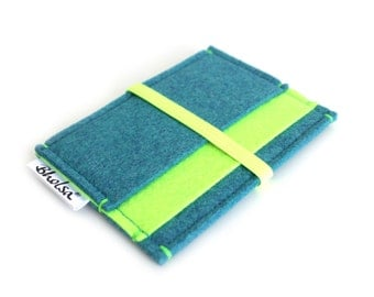 Little Wallet, Card Organizer, Card Wallet, Felt Wallet, Small Wallet, Coin wallet- Teal Blue & NEON Lime- Yellow Neon Elastic Band