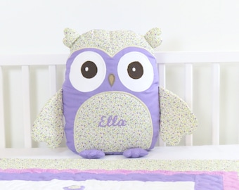 Owl, Owl Pillow, Purple Owl Pillow, Personalized Owl Pillow