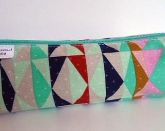 Pencil Case, Pencil Pouch, School Supply – Serape Tribal Mint - Toiletry & Cosmetics Bag