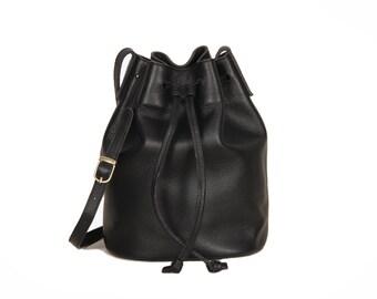 Black Shoulder Bag, Leather Bucket Bag, Leather Drawstring Bag