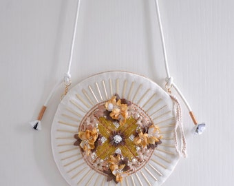MISS Autumn Bee - on sale 10%off floral beadwork circle shaped handbag. Flower and beaded shoulder bag. Style96. Ready to ship