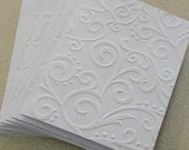 Elegant swirl cards, set of eight embossed cards in white, gift idea