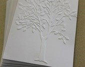 Modern tree card set, set of eight embossed cards in white, gift idea