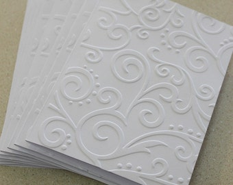 Elegant swirl cards, set of eight embossed cards in white, wedding card, thank you, birthday, sympathy, blank card set