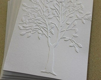 Modern tree card set, set of eight embossed cards in white, sympathy card, anniversary card, wedding card, thank you or birthday card set