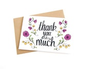 Thank You Card - Floral Illustration Card - All Occasion Card - Wedding Thank You Card - Birthday Thank You Card - Greeting Card - Flowers