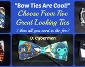 Bow Ties Are Cool - Especially BowTies Made From Doctor Who Fabrics - Choose From 5 Cool Ties - U.S.SHIPPlNG NEVER MORE THAN 1.49