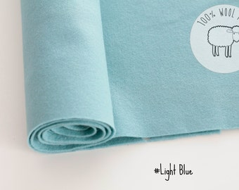 "100% wool felt  fabric in light blue, pure wool felt band 20cm by 91cm (9"" x 36""), 1 - 1,5mm - Ships from Ireland"